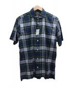 MACKINTOSH LONDON(マッキントッシュ ロンドン)の古着「ワイドカラーシャツ」 ネイビー×ホワイト