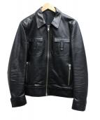 Rags McGREGOR(ラグス マクレガー)の古着「FLAP POCKET LEATHER JACKET」|ブラック