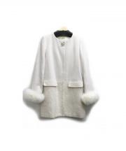 LAISSE PASSE(レッセ・パッセ)の古着「袖ファー異素材ノーカラーコート」