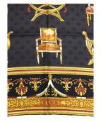GUCCI(グッチ)の古着「大判シルクスカーフ」|ブラック×ゴールド