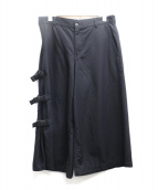 COMME des GARCONS HommePlus(コムデギャルソンオムプリュス)の古着「サイドスリットワイドパンツ」|ブラック