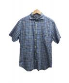 MACKINTOSH LONDON(マッキントッシュ ロンドン)の古着「半袖チェックシャツ」|ブルー×ブラック