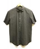 MACKINTOSH LONDON(マッキントッシュ ロンドン)の古着「シアサッカーS/Sストライプシャツ」|ブラック