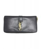 Yves Saint Laurent(イブサンローラン)の古着「ラウンドファスナー長財布」|ブラック