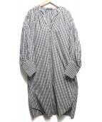 MACPHEE(マカフィ)の古着「コットンブロードギャザースリーブシャツワンピース」|ブラック×ホワイト