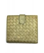 BOTTEGA VENETA(ボッテガベネタ)の古着「イントレチャート2つ折りウォレット」 ゴールド×グリーン