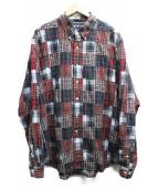 RALPH LAUREN(ラルフローレン)の古着「パッチワークチェックシャツ」|レッド