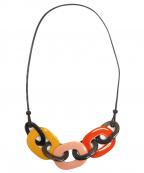 HERMES(エルメス)の古着「バッファローホーン3連ネックレス」 イエロー×ピンク×オレンジ