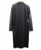 POLO RALPH LAUREN(ポロ・ラルフローレン)の古着「ラムレザー切替ワンピース」|ブラック