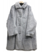 Mila Owen(ミラオーウェン)の古着「ステンカラーファーコート」|スカイブルー