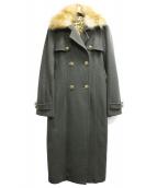 ASH&DIAMONDS(アッシュ&ダイヤモンド)の古着「襟フォックスファーコート」|オリーブ