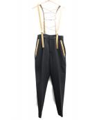 AMERI(アメリヴィンテージ)の古着「LEATHER SUSPENDER PANTS」 ブラック