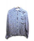 TOGA VIRILIS(トーガ ヴィリリース)の古着「総柄オープンカラーシャツ」 ブルー