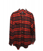 ISSEY MIYAKE(イッセイミヤケ)の古着「ビッグサイズネルシャツ」|レッド×ブラック