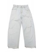 DOUBLE STANDARD CLOTHING(ダブルスタンダードクロージング)の古着「パール装飾ワイドデニムパンツ」|サックスブルー