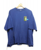 MYNE(マイン)の古着「クリアパッチビッグシルエットTシャツ」|ブルー
