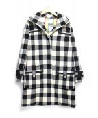 SONIA RYKIEL(ソニアリキエル)の古着「メルトンチェックフーデッドコート」|ホワイト