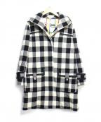 SONIA RYKIEL(ソニア リキエル)の古着「メルトンチェックフーデッドコート」|ホワイト
