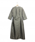 kei shirahata(ケイシラハタ)の古着「後ろ開き光沢ラップワンピース」 ブラウン