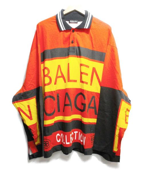 BALENCIAGA(バレンシアガ)BALENCIAGA (バレンシアガ) Long Sleeve Logo Polo Shirt レッド×ブラック サイズ:XS 定価96.120円の古着・服飾アイテム