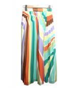 Diagram(ダイアグラム)の古着「ストライププリントスカート」|グリーン×オレンジ