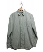 RRL(ダブルアールエル)の古着「チンストラップ付ストライプシャツ」|グリーン