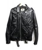 666(シックスシックスシックス)の古着「ダブルライダースジャケット」|ブラック
