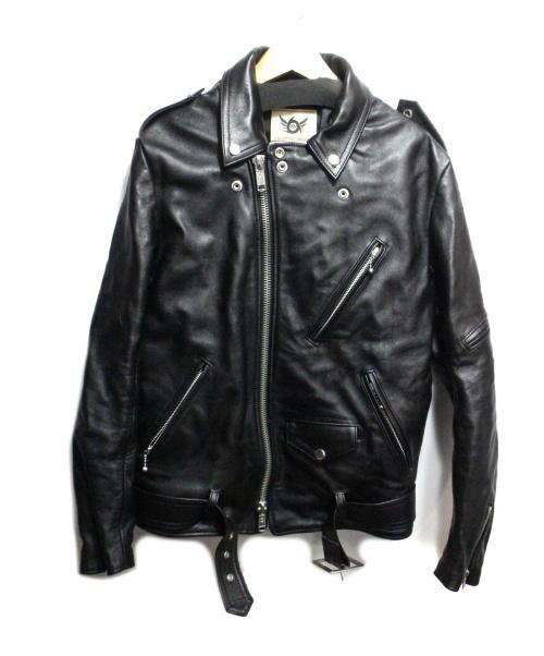 666(シックスシックスシックス)666 (シックスシックスシックス) ダブルライダースジャケット ブラック サイズ:36の古着・服飾アイテム