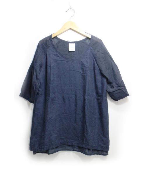 Veritecoeur(ヴェリテクール)Veritecoeur (ヴェリテクール) 裾レースプルオーバー ネイビー サイズ:FREEの古着・服飾アイテム