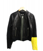 DIESEL(ディーゼル)の古着「シングル袖切替ラムレザージャケット」|ブラック