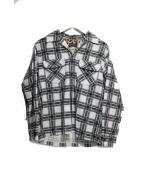 Dry bones(ドライボーンズ)の古着「ベロアチェック開襟シャツ」|グレー×ホワイト