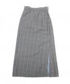 BACCA(バッカ)の古着「リネンウールチェック サイドスリットロングスカート」|グレー