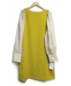 Jewel Changes(ジュエルチェンジズ)の古着「サテン袖ギャザーワンピース」|イエロー×ベージュ
