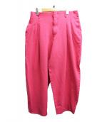 COMME des GARCONS HommePlus(コムデギャルソンオムプリュス)の古着「タックワイドパンツ」 ピンク