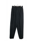 ISSEY MIYAKE(イッセイミヤケ)の古着「センタープレスウールパンツ」|ブラック