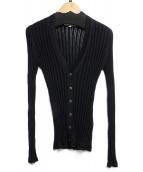 NARA CAMICIE(ナラカミーチェ)の古着「アイレットリブニットカーディガン」|ブラック