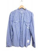 DENIM BY VANQUISH&FRAGMENT(デニムバイ バンキッシュアンドフラグメント)の古着「ギンガムチェックバンドカラーウエスタンシャツ」 ブルー×ホワイト