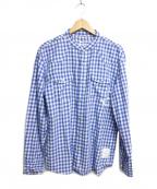 DENIM BY VANQUISH&FRAGMENT(デニムバイヴァンキッシュ&フラグメント)の古着「ギンガムチェックバンドカラーウエスタンシャツ」|ブルー×ホワイト