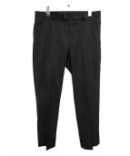 agnes b(アニエスベー)の古着「リザード刺繍センタープレスパンツ」|ブラック