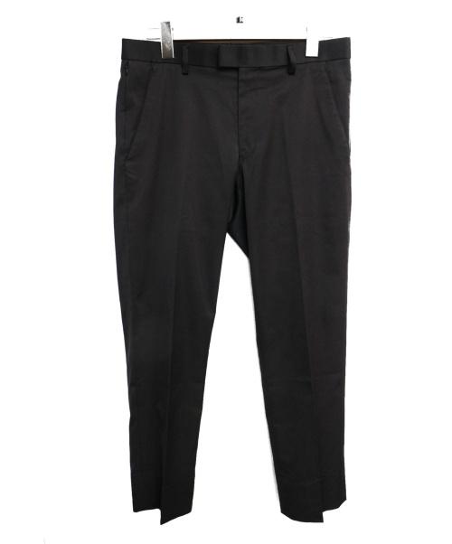 agnes b(アニエスベー)agnes b (アニエスベー) リザード刺繍センタープレスパンツ ブラック サイズ:36の古着・服飾アイテム