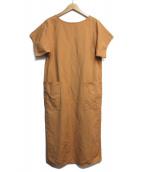 GALERIE VIE(ギャラリーヴィー)の古着「コットンリネンツイル ラグランスリーブワンピース」|オレンジ