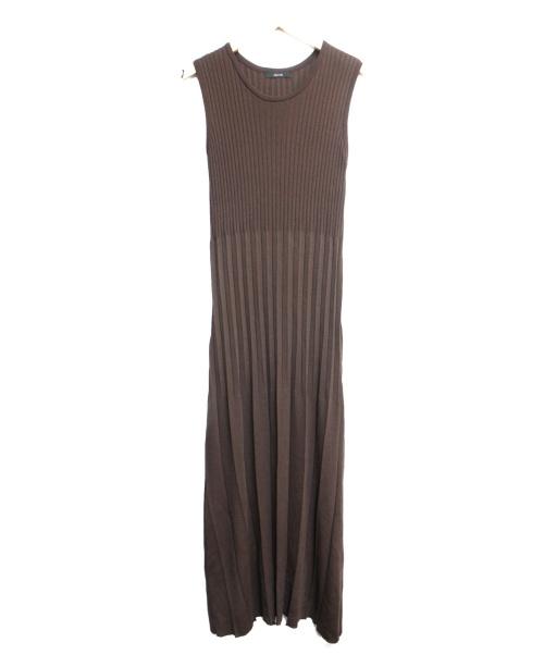 allureville(アルアバイル)allureville (アルアバイル) キリカエプリーツニットワンピース ブラウン サイズ:Mの古着・服飾アイテム
