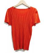 PLEATS PLEASE(プリーツプリーズ)の古着「半袖プリーツブラウス」|オレンジ