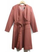Viaggio Blu(ビアッジョブルー)の古着「ベルト付ダブルカシュクールワンピース」|ピンク