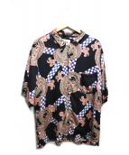 NOMA t.d.(ノーマッド)の古着「チェッカーペイズリーサマーシャツ」|ネイビー×ピンク