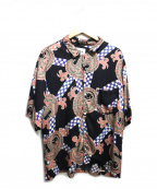 NOMA t.d.(ノーマティーディー)の古着「チェッカーペイズリーサマーシャツ」 ネイビー×ピンク