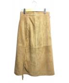 martinique(マルティニーク)の古着「フリンジラムスキンスカート」|ベージュ