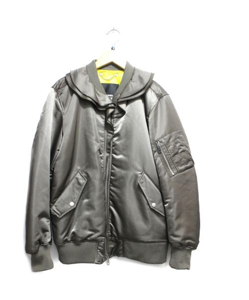 DIESEL(ディーゼル)DIESEL (ディーゼル) ロングMA-1ジャケット カーキ サイズ:Sの古着・服飾アイテム