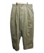 Graphpaper(グラフペーパー)の古着「Military Cloth 2 Tucks Pants」 カーキ