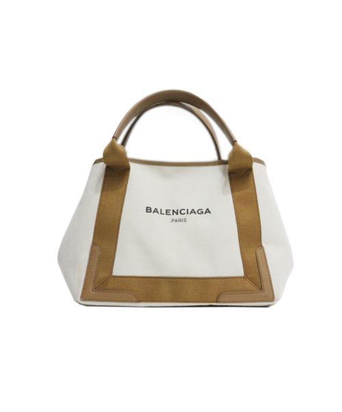 BALENCIAGA(バレンシアガ)BALENCIAGA (バレンシアガ) キャンバストートバッグ ベージュ×ブラウン 339933 9865の古着・服飾アイテム